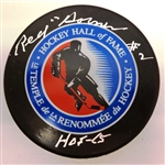 Red Horner Autographed Hall of Fame Puck