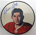 Elmer Lach Autographed Hand Painted Puck