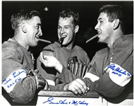 Howe, Lindsay and Delvecchio Signed 11x14 w/ Inscriptions