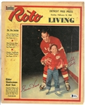 Gordie Howe & Marty Howe Autographed 1958 Free Press Magazine