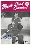 Johnny Bower Autographed 1963 Maple Leafs Program
