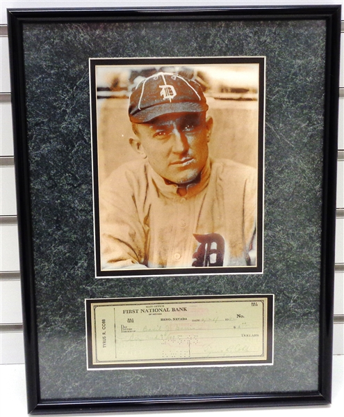 Ty Cobb Autographed Framed Check