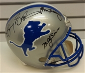 Barry Sanders, Lem Barney & Billy Sims Autographed Full Size Replica Helmet