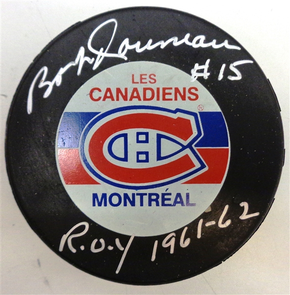 Bobby Rousseau Autographed Canadiens Puck w/ ROY