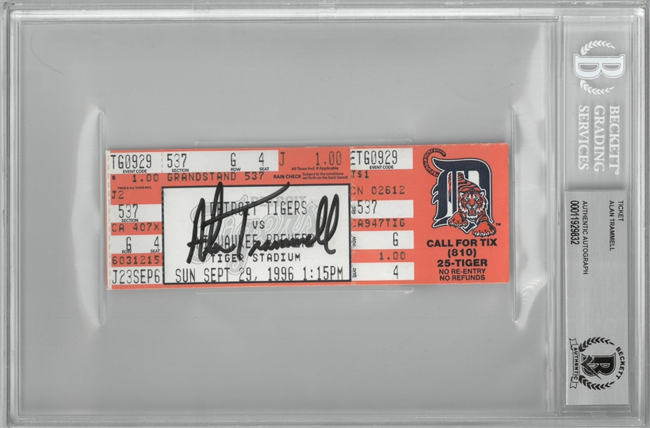 Alan Trammell Autographed Final Game of his Career Ticket