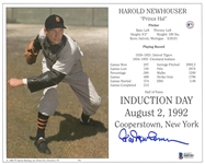 Hal Newhouser Signed Detroit Tigers Hall of Fame Induction Day 8x10 Photo