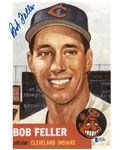 Bob Feller Autographed 8x10 Photo Blow-up of 1953 Topps