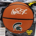 Magic Johnson Signed Michigan State Spartans Baden Brown Logo Basketball