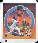 Cecil Fielder Autographed 22x25 Lithograph w/ Remarque