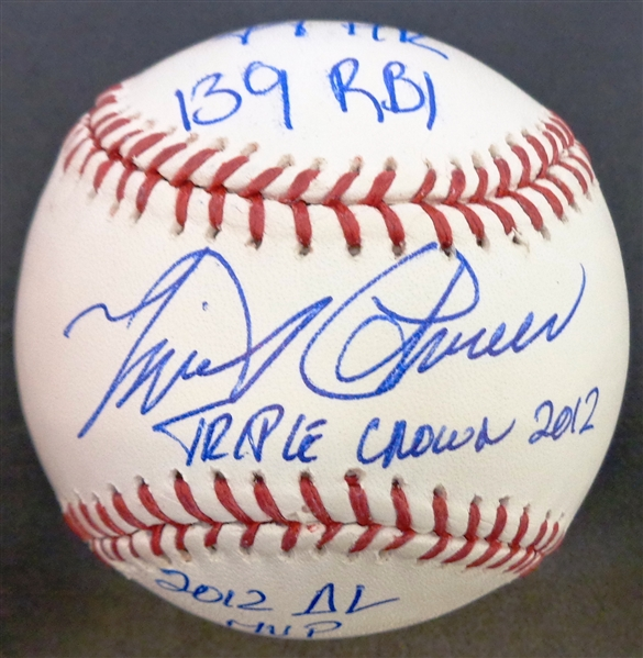 Miguel Cabrera Autographed Triple Crown Stat Baseball