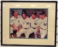 Mantle, DiMaggio, Berra and Ford Autographed & Framed 11x14