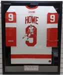 Gordie Howe Autographed Framed Hand Painted Jersey - Pick up Only
