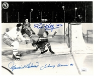 Maurice Richard/Red Kelly/Johnny Bower 8x10 Signed Photo