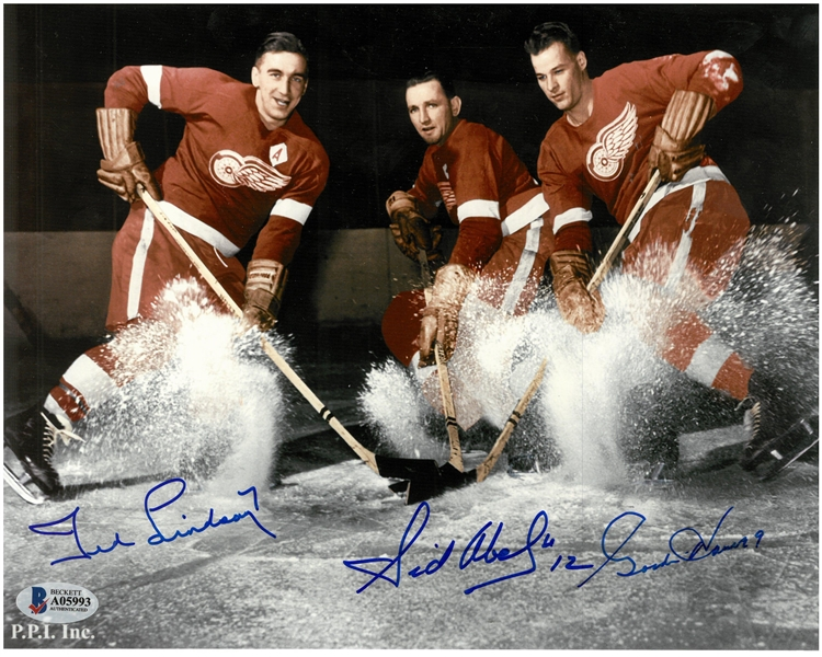 Production Line Autographed Ice Spray 8x10 Photo Howe/Lindsay/Abel
