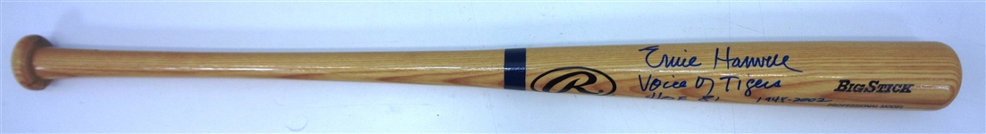 Ernie Harwell Autographed Bat with Inscriptions