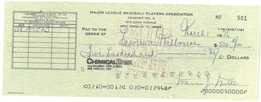Marvin Miller Signed MLBPA Check (HOF 2020)