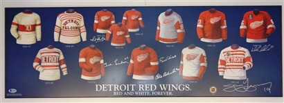 Red Wings 12x36 Plaque Signed by 6 HOFers