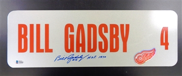Bill Gadsby Autographed 6x18 Metal Street Sign (Wings)