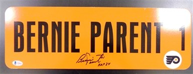 Bernie Parent Autographed 6x18 Metal Street Sign