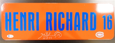 Henri Richard Autographed 6x18 Metal Street Sign