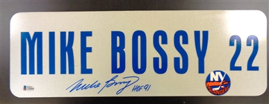 Mike Bossy Autographed 6x18 Metal Street Sign