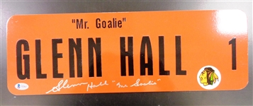 Glenn Hall Autographed 6x18 Metal Street Sign