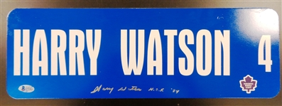 Harry Watson Autographed 6x18 Metal Street Sign