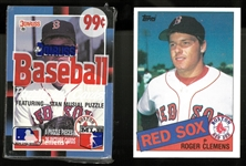 Roger Clemens Rookie Card & Card on top of Cello Pack