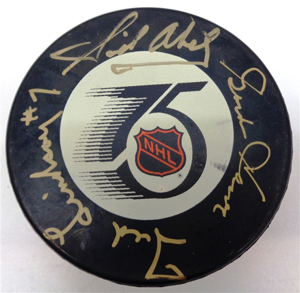 Production Line Autographed NHL 75th Game Puck - Howe/Lindsay/Abel