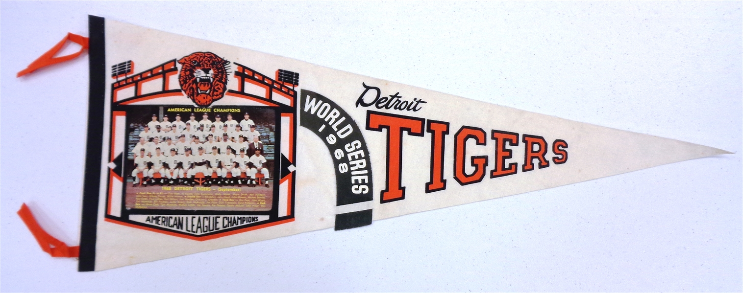 1968 Detroit Tigers World Series Team Photo Pennant