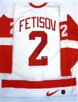 Slava Fetisov Autographed Nike Authentic Red Wings Jersey