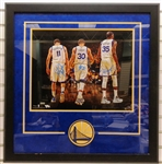 Warriors Framed 16x20 Signed by Thompson, Curry & Durant